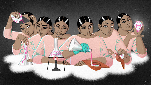 Illustration of one woman with dark hair and a pink shirt in six phases from left to right. In each phase, she works to transform her anxiety: from a shapeless blob, into a test tube, observing the test tube over a fire, pouring a substance into a mold, removing something from the mold, and then holding a gem.