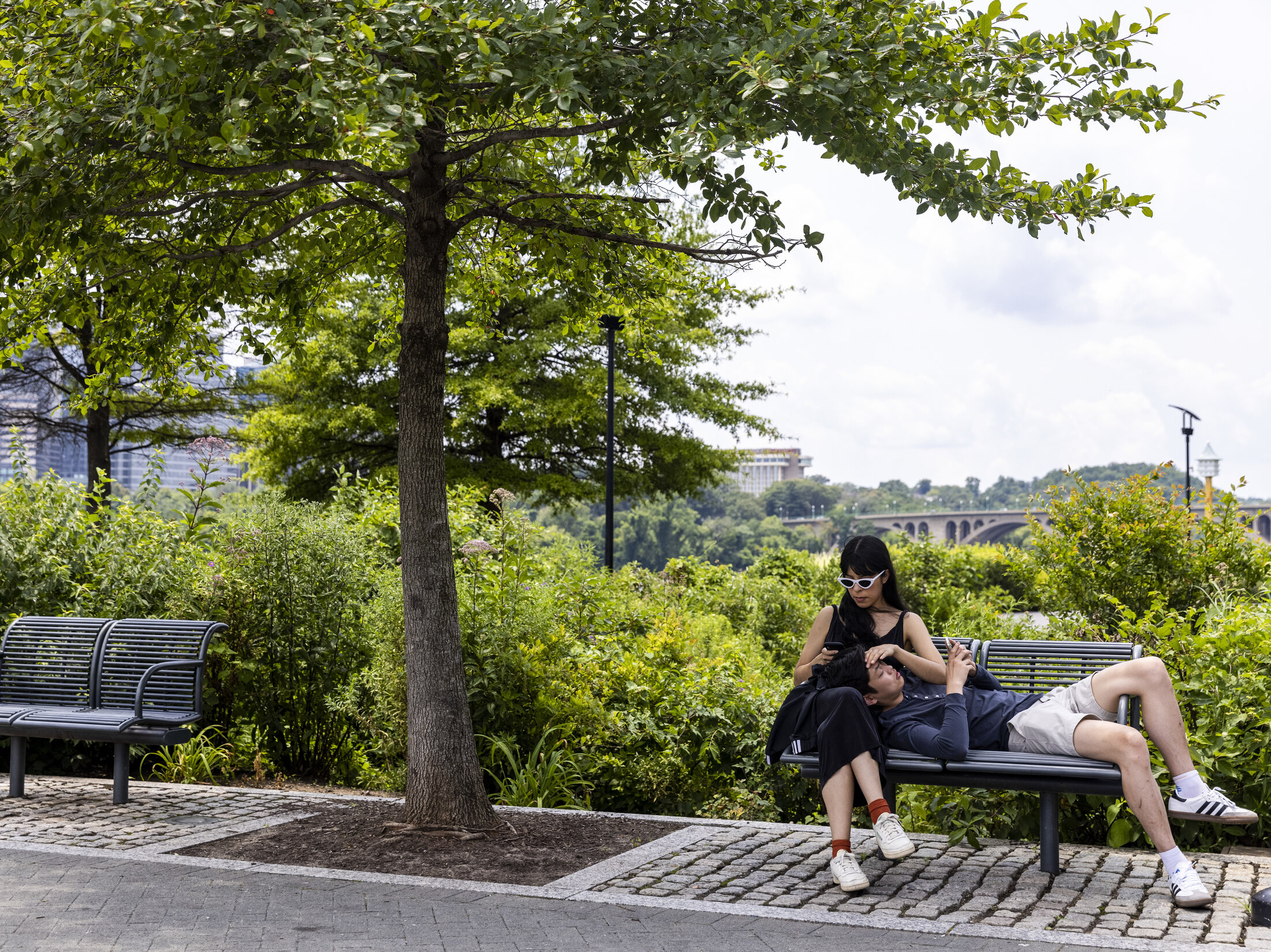 People relax at the Georgetown Waterfront Park in Washington, D.C.