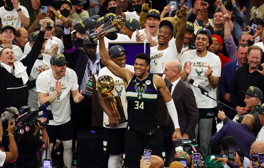 Giannis Antetokounmpo of the Milwaukee Bucks celebrates winning the Bill Russell NBA Finals MVP Award after defeating the Phoenix Suns in Game Six to win the 2021 NBA Finals in Milwaukee, Wisconsin yesterday.